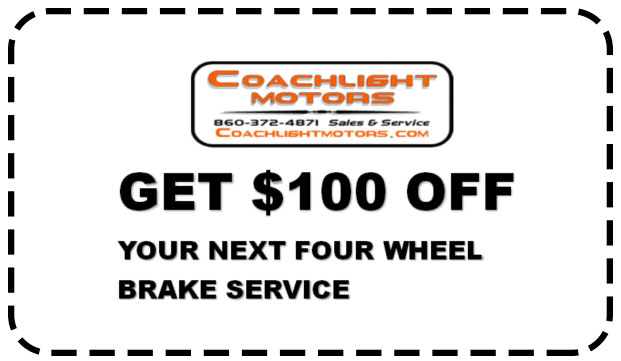 Coupon for Get $100 off your next four wheel brake service